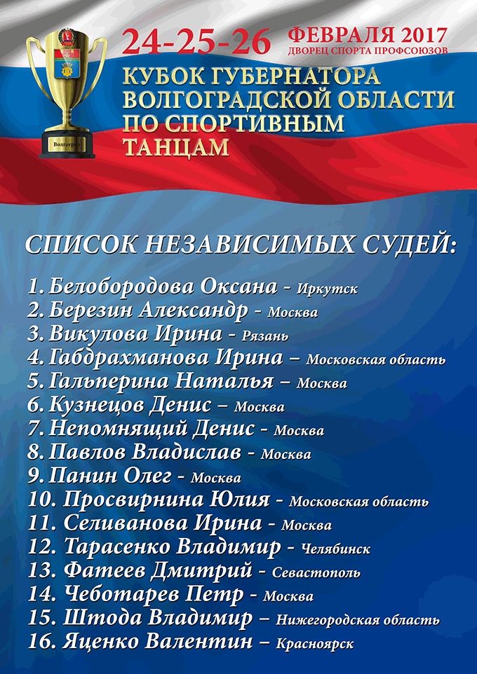 Список независимых судей на турнир «Кубок Губернатора Волгоградской области» по спортивным танцам